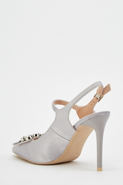 Detailed Front Sateen Court Heels