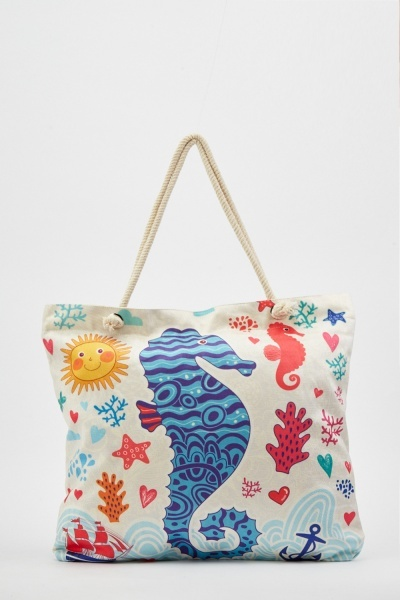 Sea Horse Print Beach Bag