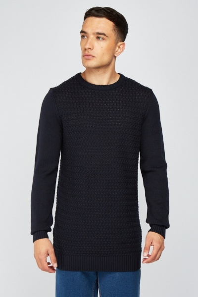 Knit Pattern Navy Jumper
