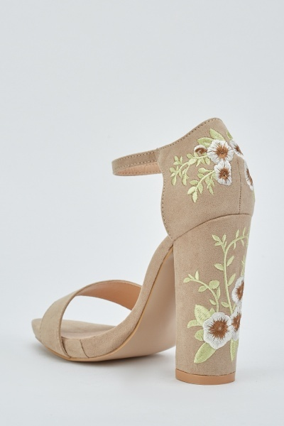 Flower Embroidered Heeled Sandals