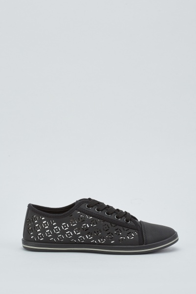 Lace Up Laser Cut Sneakers