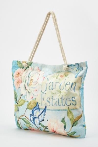 Mixed Flower Print Tote Bag