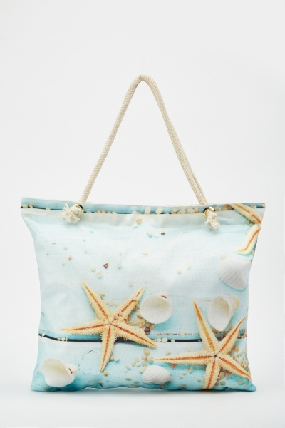 Starfish Shell Print Beach Bag