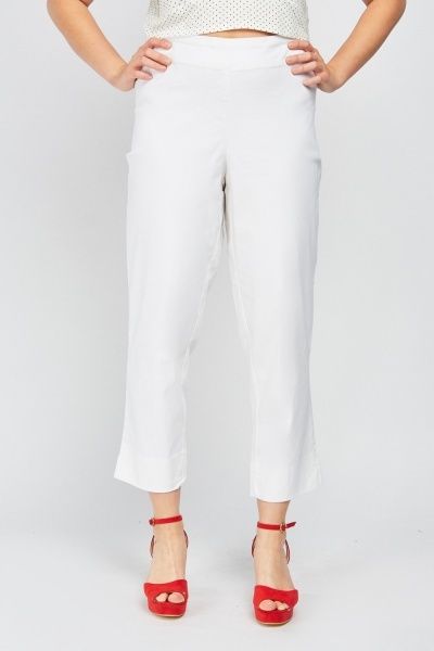 Crop Length Textured Trousers