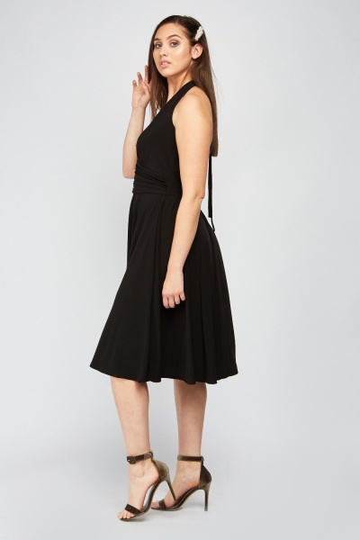 Ruched Front Midi Halter Dress