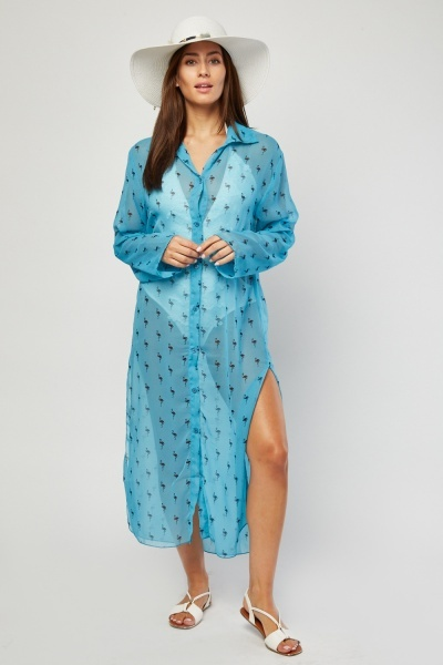 Sheer Flamingo Print Cover Up