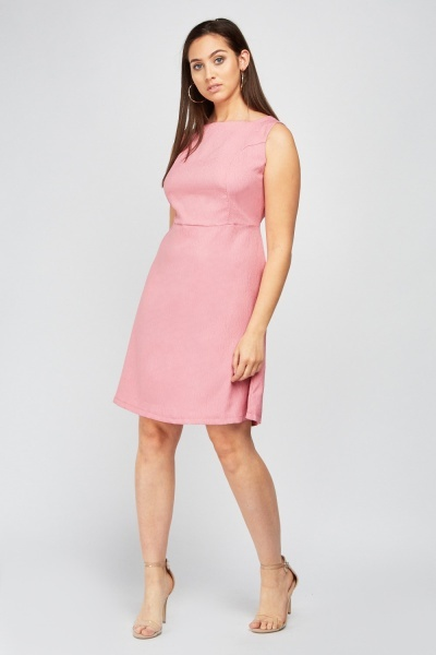 Short Sleeve A-Line Textured Dress