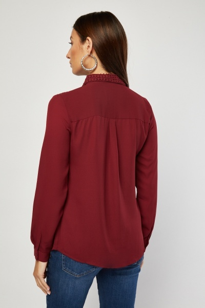 Chiffon Crochet Panel Shirt