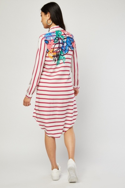 Printed Stripe Shirt Dress