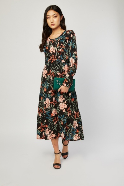 Ruffle Front Botanical Print Dress