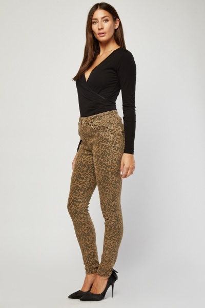 Soft Touch Skinny Leopard Print Trousers