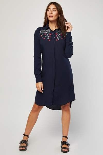 Umbrella Embroidered Shirt Dress