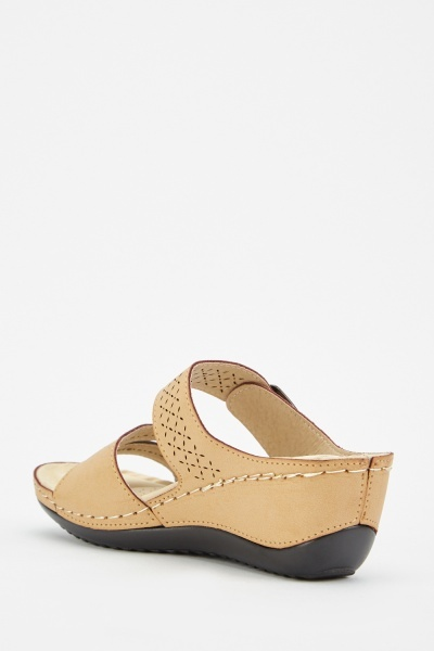 Laser Cut Buckled Wedge Sandals