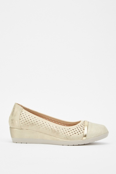 Laser Cut Metallic Wedge Shoes
