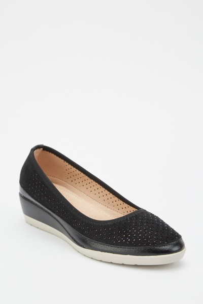 Perforated Low Wedge Shoes