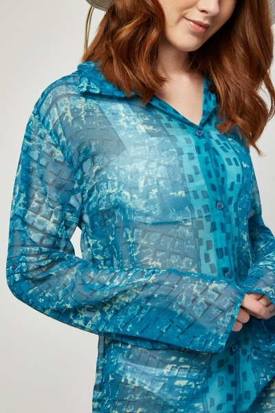 Button Up Printed Sheer Cover Up