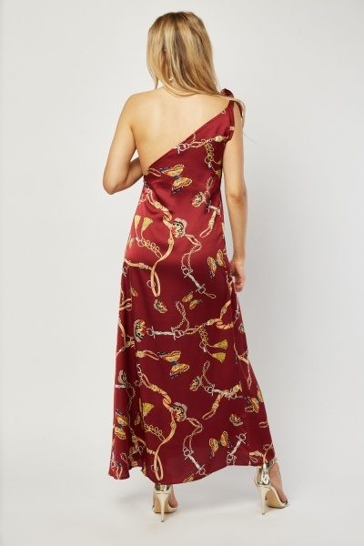 Chain Butterfly Scarf Print Maxi Dress