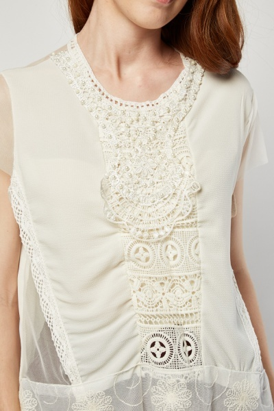 Faux Pearl Crochet Trim Top