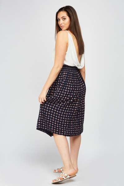 Printed Mid Length Skirt