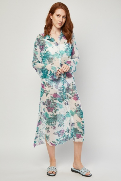 Sheer Floral Long Line Beach Cover Up