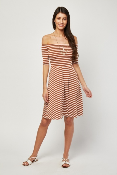 1f5476e82e87e Off Shoulder Stripe Swing Dress - Brown/White - Just £5