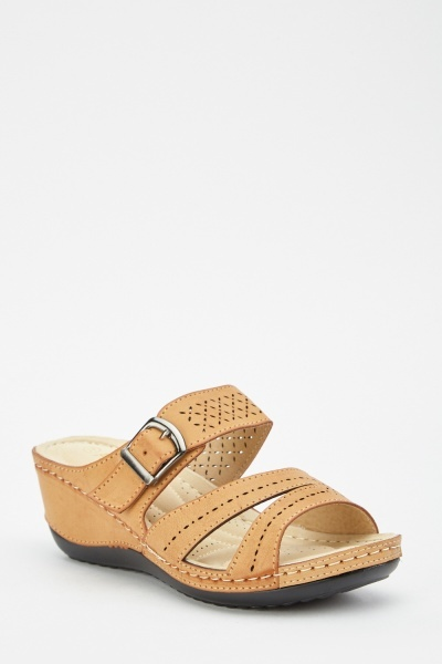 Buckle Laser Cut Wedge Sandals