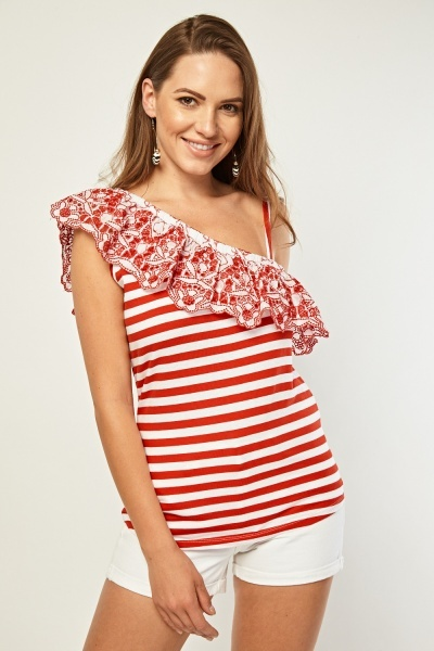 Broderie Trim Asymmetric Stripe Top