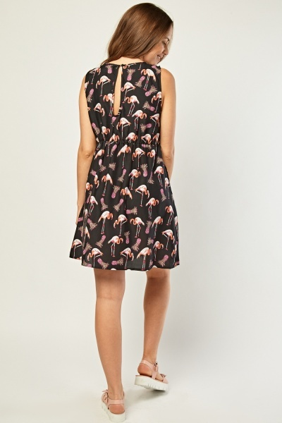 Pleated Front Flamingo Print Dress