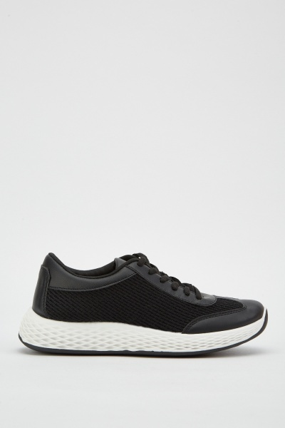 Two Tone Lace Up Trainers