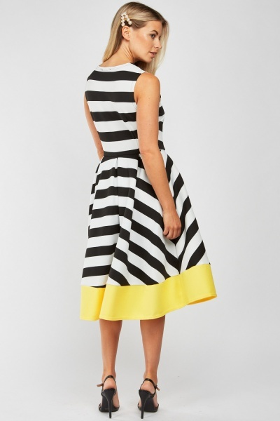 Box Pleated Striped Dress