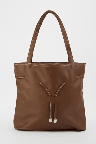 Drawstring Detail Tote Bag