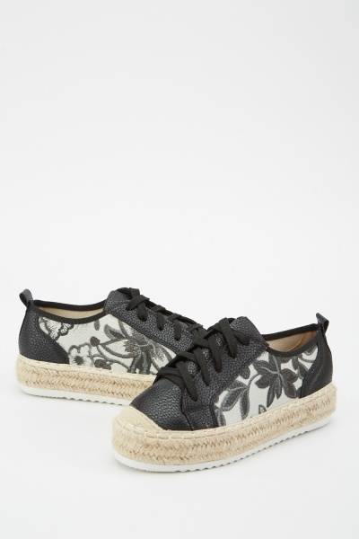 Floral Print Espadrille Shoes