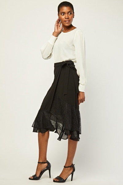 Ruffle Lace Wrap Skirt