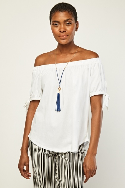 Tie Up Sleeve Bardot Style Top