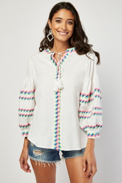 Geometric Multi Stitched Top