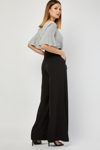 Lace Up Front Wide Leg Trousers