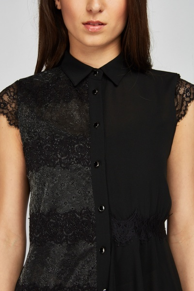 Lace Trim Asyymetric Hem Top
