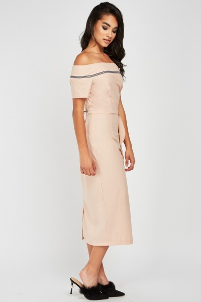 Ruffle Side Midi Bardot Dress