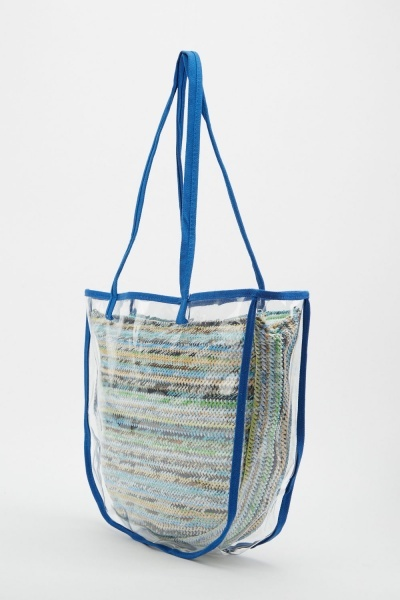 2-In-1 Clear Straw Bag Set
