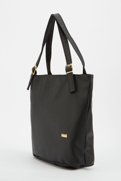Textured Buckle Strap Tote Bag