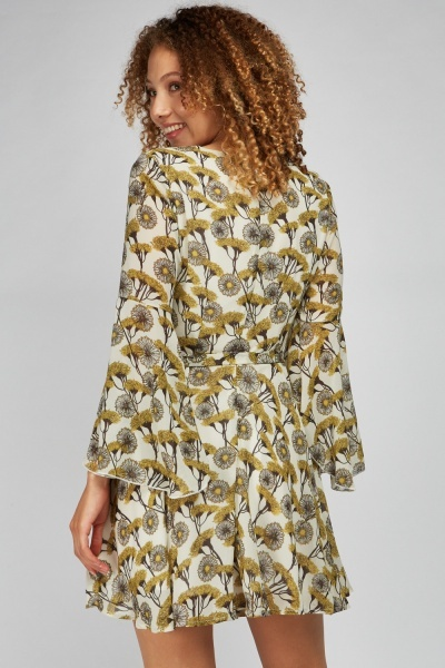 Dandelion Print Flute Sleeve Dress