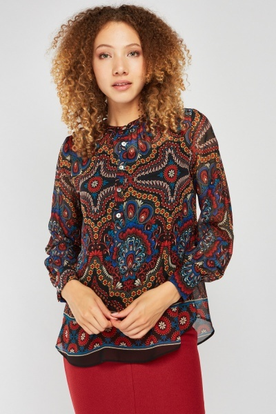 Ethnic Print Sheer Blouse