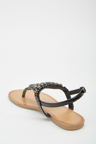 Gemstone Encrusted Flat Sandals
