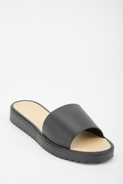 Plain Faux Leather Slides