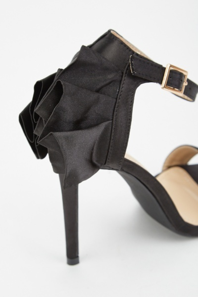 Sateen Ruffle Back Detail Heels