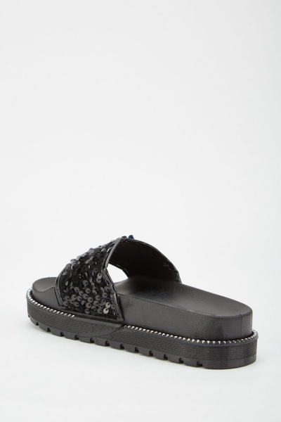 Sequin Contrast Chunky Sliders