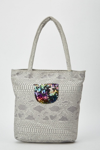 Sequin Encrusted Front Mock Croc Tote Bag