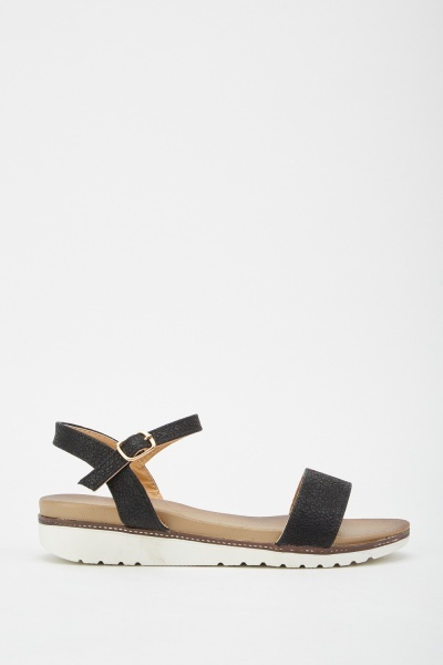 Textured Ankle Strap Sandals