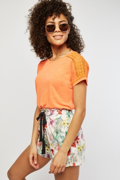 Speckled Crochet Trim Top