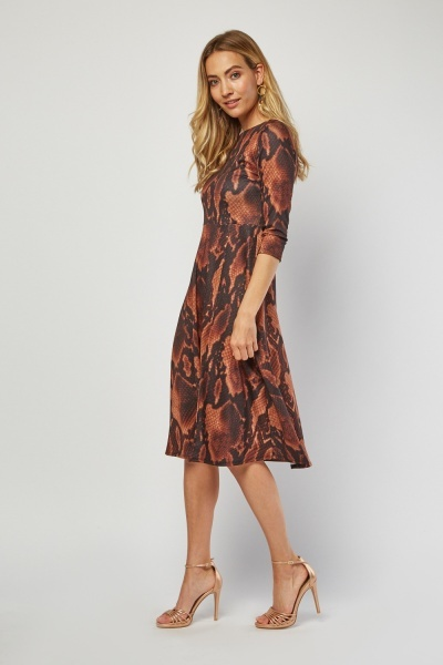 Python Print Midi Swing Dress